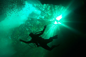 Image of Cavern Diver Overhead with Sun Shining Through Water