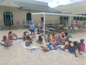 Picture of Children Getting Snorkeling Instructions by Side of Pool