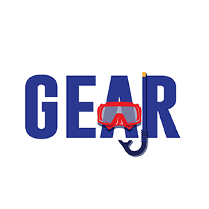 Image of the word Gear with Scuba Diving Mask and Snorkel for South Tampa Dive Shop Adventure Outfitters