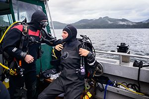 Image of Instructor Instructing Technical Diving Class Student