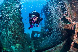 Image of Lady Diving Wreck - External Survey Dive Class - Adventure Outfitters